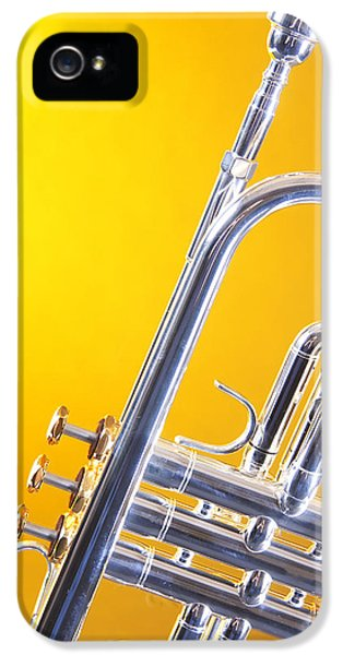 Silver Trumpet Isolated On Yellow IPhone 5 Case by M K  Miller