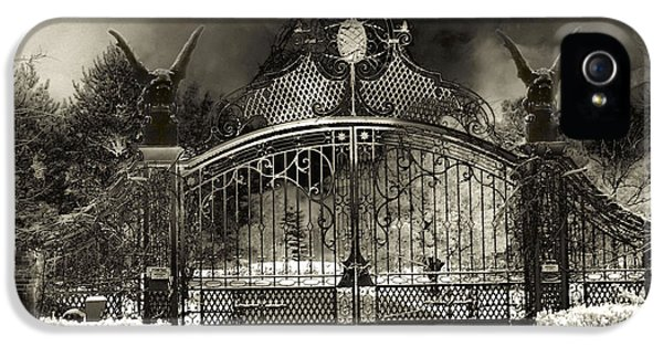Surreal Gothic Gate And Gargoyles Stormy Haunted Sepia Nightscape IPhone 5 Case by Kathy Fornal
