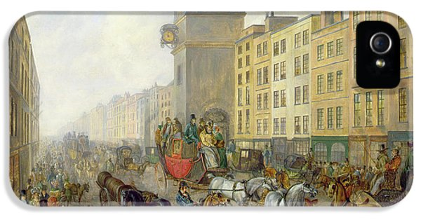 Clock iPhone 5 Case - The London Bridge Coach At Cheapside by William de Long Turner