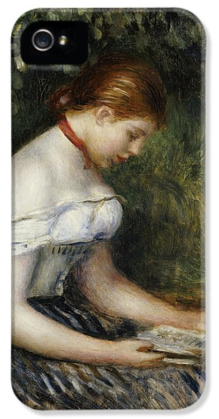 The Reader A Seated Young Girl  IPhone 5 Case by Pierre Auguste Renoir