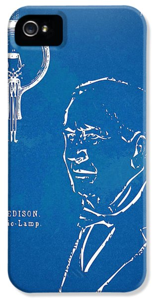 Thomas Edison Lightbulb Patent Artwork IPhone 5 Case by Nikki Marie Smith