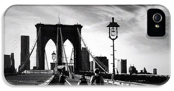 Classic iPhone 5 Case - Walking Over The Brooklyn Bridge - New York City by Vivienne Gucwa