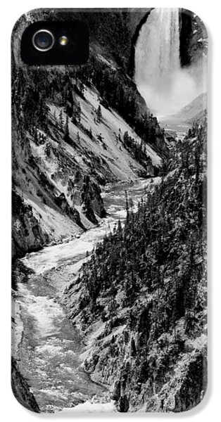 Yellowstone Waterfalls In Black And White IPhone 5 Case by Sebastian Musial