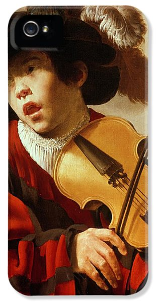 Violin iPhone 5 Case -  Boy Playing Stringed Instrument And Singing by Hendrick Ter Brugghen