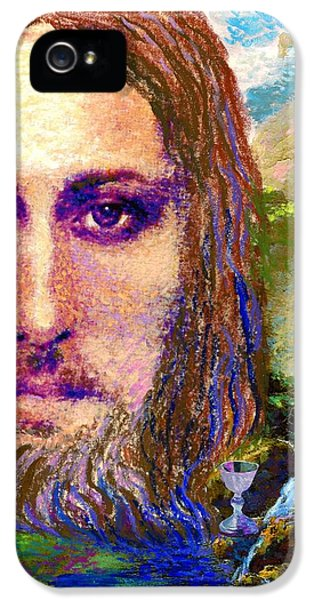 Contemporary Jesus Painting, Chalice Of Life IPhone 5 / 5s Case by Jane Small