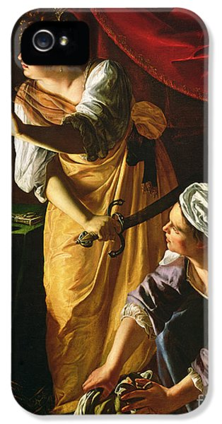 Judith And Maidservant With The Head Of Holofernes IPhone 5 Case by Artemisia Gentileschi