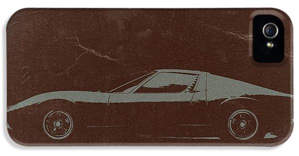 European Cars iPhone 5 Cases -  Lamborghini Miura iPhone 5 Case by Naxart Studio