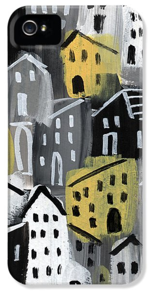 Town iPhone 5 Case -  Rainy Day - Expressionist Art by Linda Woods