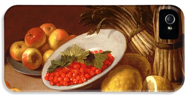 Still Life Of Raspberries Lemons And Asparagus  IPhone 5 Case by Italian School