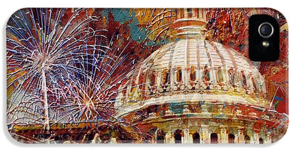 070 United States Capitol Building - Us Independence Day Celebration Fireworks IPhone 5 Case by Maryam Mughal