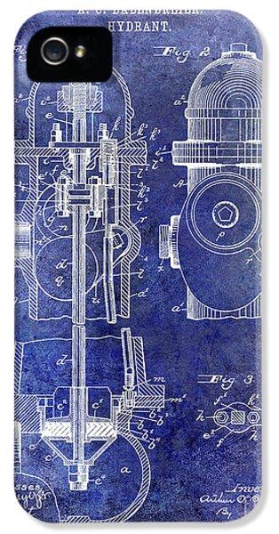 1903 Fire Hydrant Patent Blue IPhone 5 Case by Jon Neidert