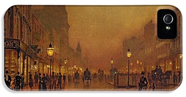 A Street At Night IPhone 5 Case by John Atkinson Grimshaw