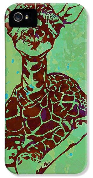 Baby Giraffe - Pop Modern Etching Art Poster IPhone 5 Case