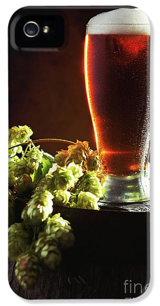 Beer And Hops On Barrel IPhone 5 Case by Amanda Elwell