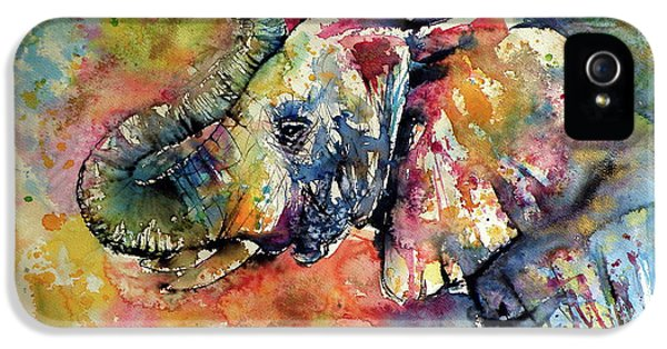 Animal iPhone 5 Case - Big Colorful Elephant by Kovacs Anna Brigitta