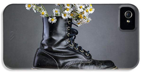 Daisy iPhone 5 Case - Boots With Daisy Flowers by Nailia Schwarz