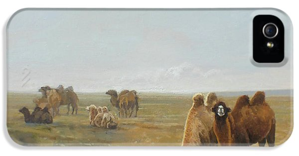 Camels Along The River IPhone 5 Case by Chen Baoyi
