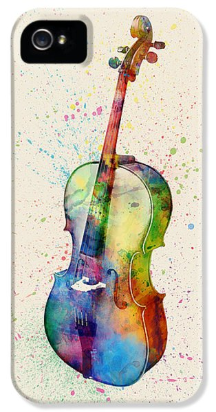 Violin iPhone 5 Case - Cello Abstract Watercolor by Michael Tompsett