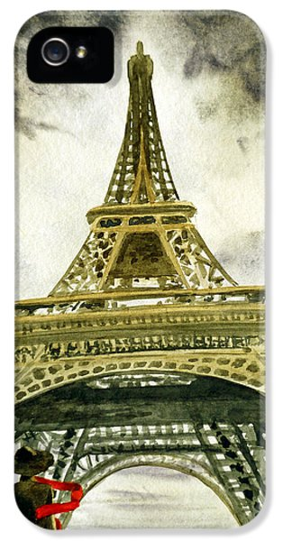 Dramatic Skies iPhone 5 Cases - Eiffel Tower Paris iPhone 5 Case by Irina Sztukowski