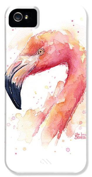 Flamingo iPhone 5 Case - Flamingo Watercolor  by Olga Shvartsur