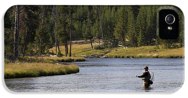 Fly iPhone 5 Cases - Fly Fishing in the Firehole River Yellowstone iPhone 5 Case by Dustin K Ryan