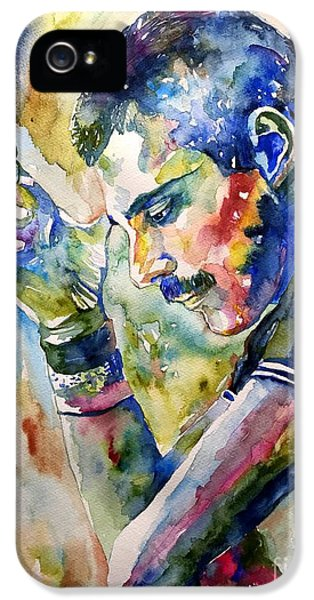Legends iPhone 5 Case - Freddie Mercury Watercolor by Suzann's Art