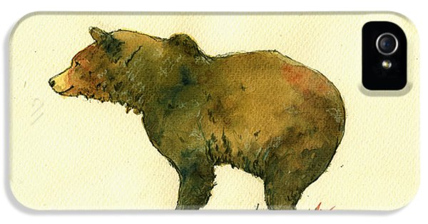 Bear iPhone 5 Case - Grizzly Bear Watercolor Painting by Juan  Bosco