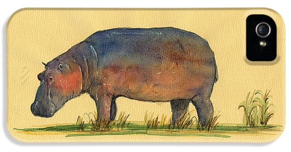 Hippo Watercolor Painting  IPhone 5 / 5s Case by Juan  Bosco