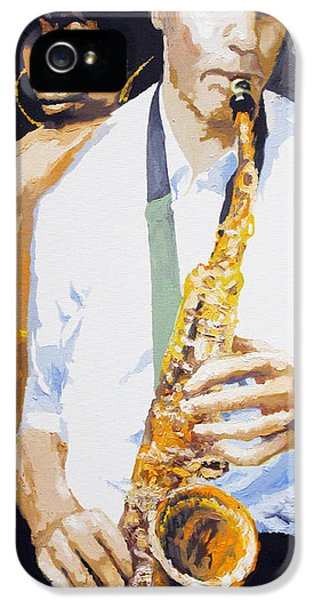 Jazz Muza Saxophon IPhone 5 Case by Yuriy  Shevchuk