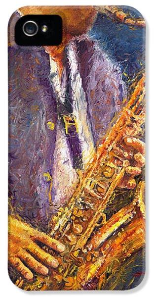 Jazz Saxophonist IPhone 5 / 5s Case by Yuriy  Shevchuk