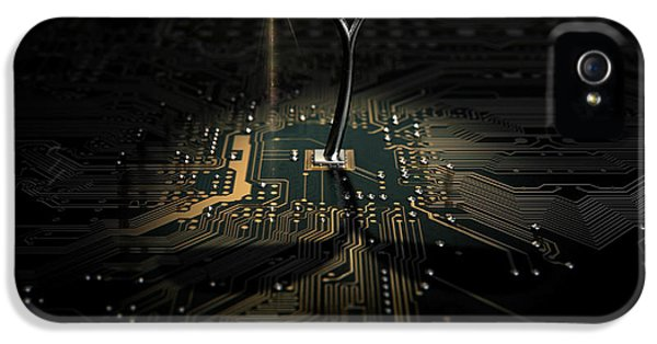 Macro Circuit Board With Futuristic Plant IPhone 5 Case