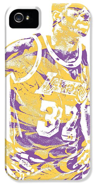 Magic Johnson iPhone 5 Case - Magic Johnson Los Angeles Lakers Pixel Art 6 by Joe Hamilton