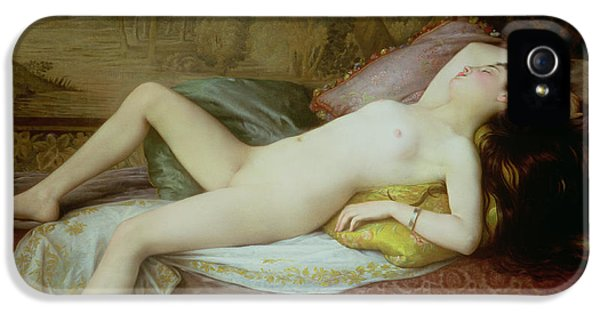 Nude Lying On A Chaise Longue IPhone 5 Case by Gustave-Henri-Eugene Delhumeau