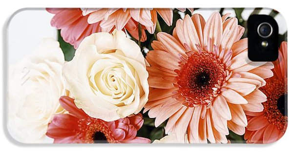 Pink Gerbera Daisy Flowers And White Roses Bouquet IPhone 5 Case by Radu Bercan