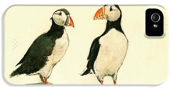 Puffin iPhone 5 Case - Puffins  by Juan  Bosco