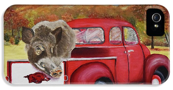 University Of Arkansas iPhone 5 Case - Ridin' With Razorbacks 2 by Belinda Nagy