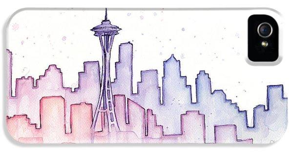 Seattle iPhone 5 Case - Seattle Skyline Watercolor by Olga Shvartsur