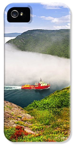 Newfoundland iPhone 5 Cases - Ship entering the Narrows of St Johns iPhone 5 Case by Elena Elisseeva