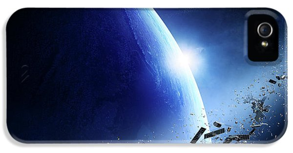 Damage iPhone 5 Case - Space Junk Orbiting Earth by Johan Swanepoel