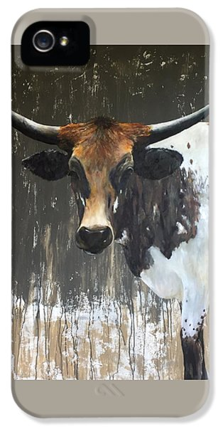 Cow iPhone 5 Case - Texas Longhorn by Cheryl Green