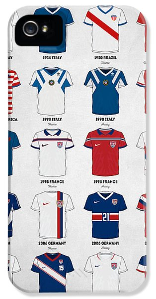 The Evolution Of The Us World Cup Soccer Jersey IPhone 5 Case by Taylan Apukovska