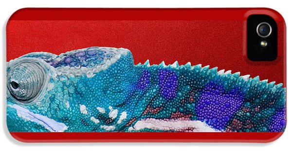 Bright iPhone 5 Case - Turquoise Chameleon On Red by Serge Averbukh