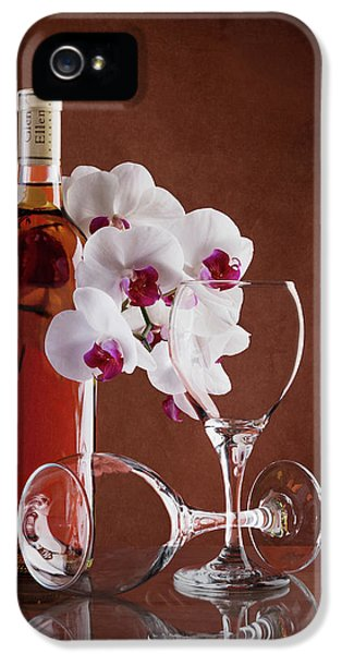 Orchid iPhone 5 Case - Wine And Orchids Still Life by Tom Mc Nemar