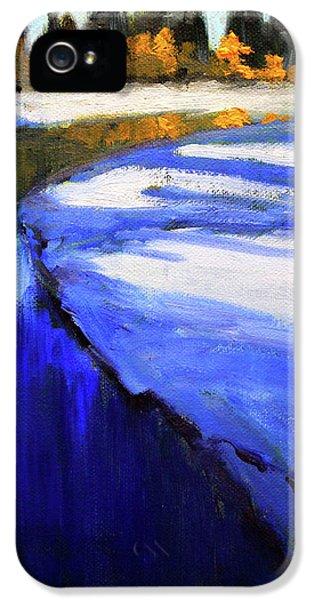 IPhone 5 Case featuring the painting Winter River by Nancy Merkle