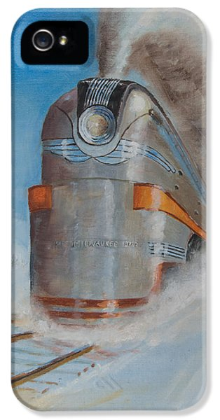 Train iPhone 5 Case - 104 Mph In The Snow by Christopher Jenkins