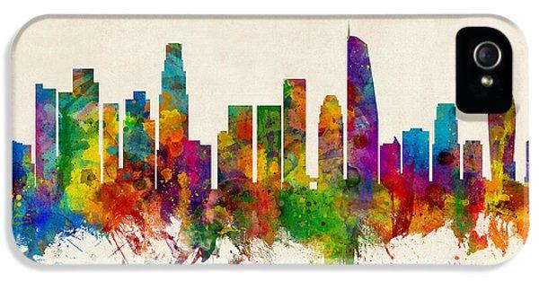 Los Angeles California Skyline IPhone 5 Case by Michael Tompsett