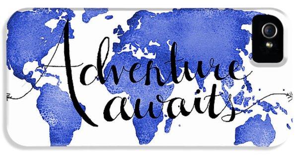 12x16 Adventure Awaits Blue Map Art IPhone 5 Case by Michelle Eshleman