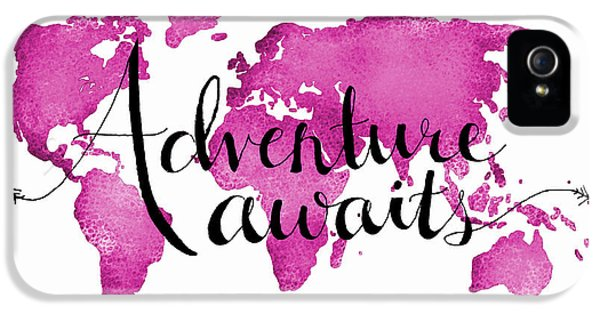 12x16 Adventure Awaits Pink Map IPhone 5 Case by Michelle Eshleman