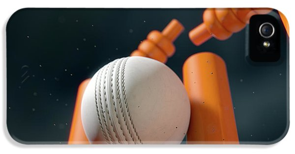 Cricket Ball Hitting Wickets IPhone 5 Case by Allan Swart