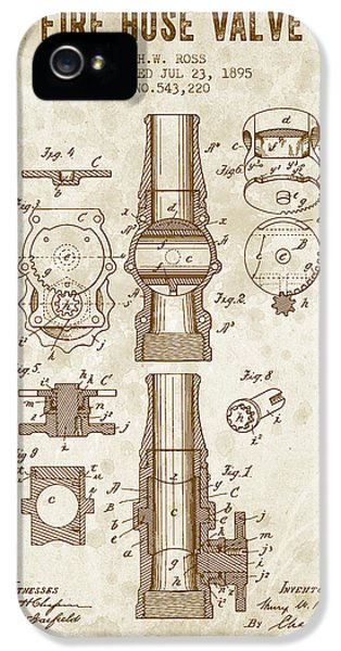 1895 Fire Hose Valve Patent - Vintage Brown IPhone 5 Case by Aged Pixel
